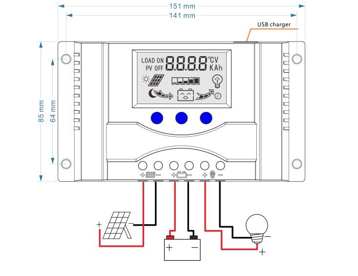 Solar Charge Controller 30A 12V 24V LCD Display Dual USB