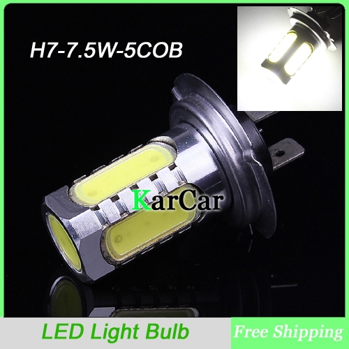 H7 5 SMD COB Chip LED 12V Fog Light Head Light Lamp Bulb White, 7.5W Super Bright Car Fog Headlight Free Shipping(China (Mainland))