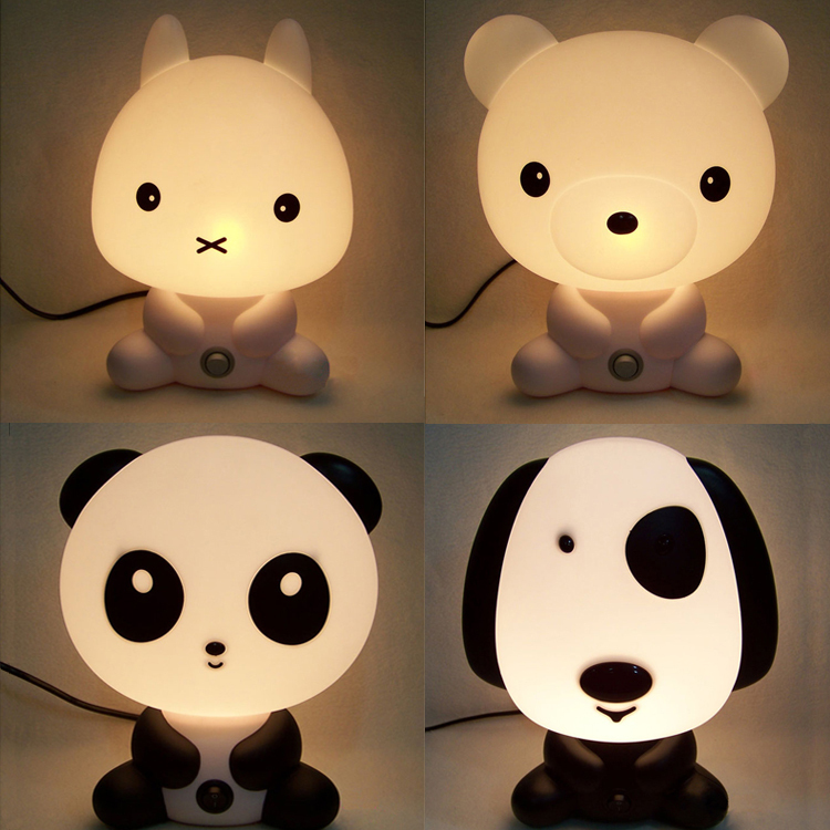 2015 Hot Cartoon Energy Saving Table Lamps Panda/ Dog /Rabbit /Bear Lamp Block Light Child Bedroom Bedside Lamp Baby Lamp(China (Mainland))