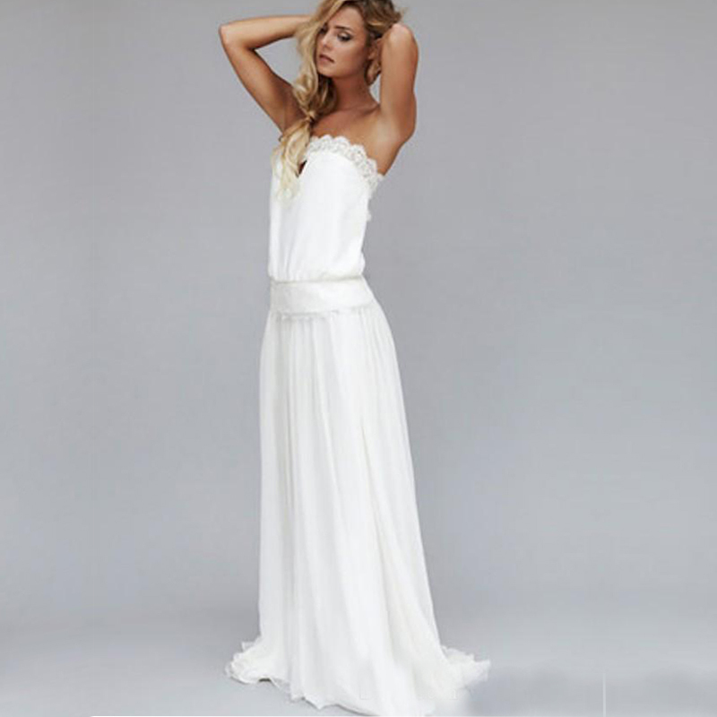 2015 vintage 1920s sexy beach wedding dresses strapless for Vintage backless wedding dresses