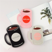 Cute Cup Shaped Silicone Coffee Mug Case for Iphone 5 5s se 6 6s 6 plus 6s plus Coque Flexible Anti Knock(China (Mainland))