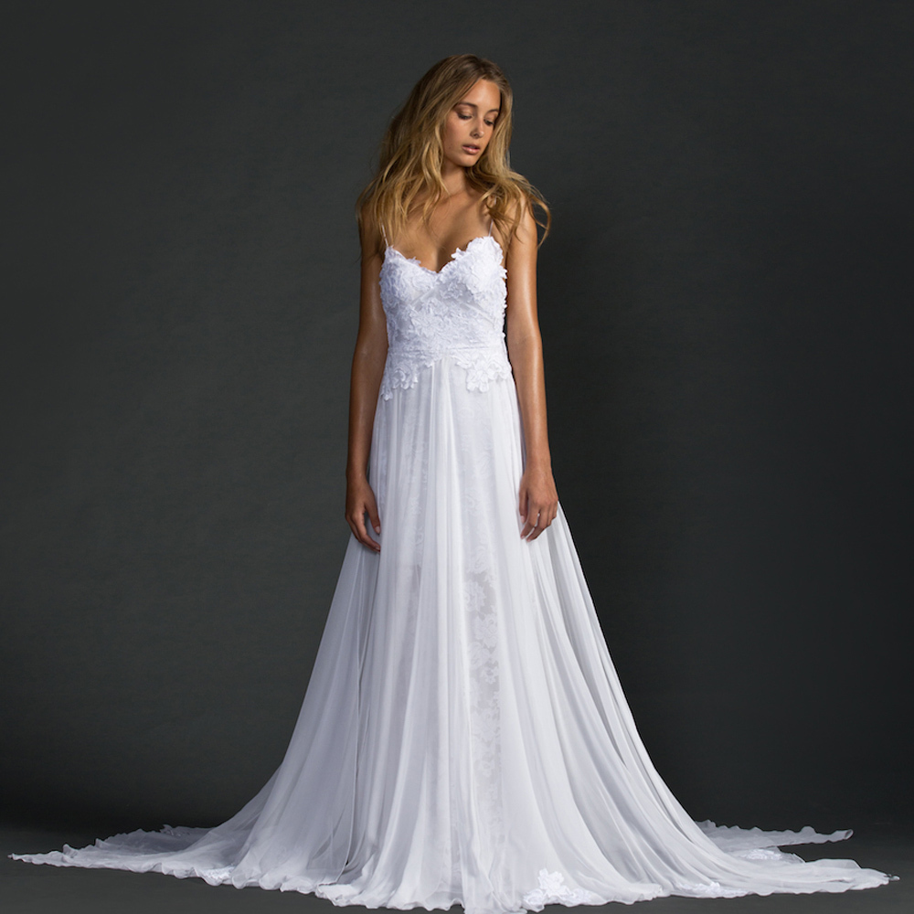 2016 white bohemian lace wedding dresses a line spaghetti for Bohemian white wedding dress