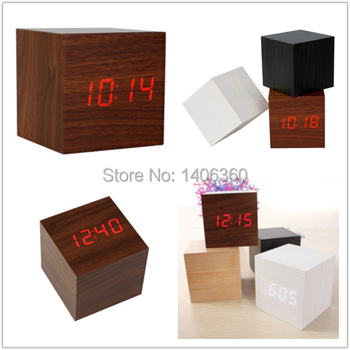 Square Wooden Red Table LED Clock Voice Activated Thermometer Digital Alarm Clock LED brown red Wood highlight red lights clocks(China (Mainland))