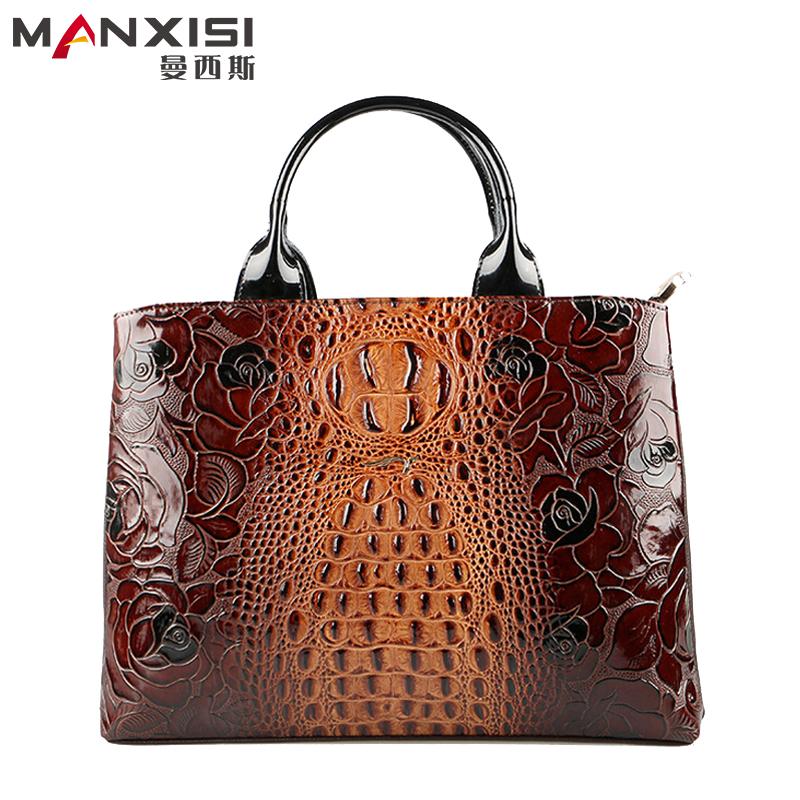 2015 New Crocodile Handbags Genuine Leather Brown Tote Bags Handbags Women Famous Brands Designer Handbags High Quality<br><br>Aliexpress