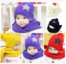 MZ0399  Fashion Star Knitting Winter Hats &scarf Sets For Baby Children Accessories Warm   Wholesale Retail(China (Mainland))