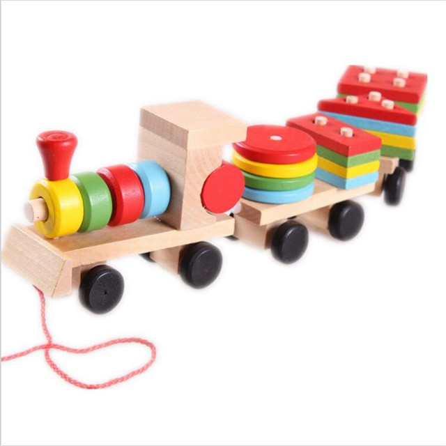 Kid's Montessori Soft Wood Train Vehicle Blocks with Shaper matching block set 16PCS Gift for Baby & Kids Early educational toy