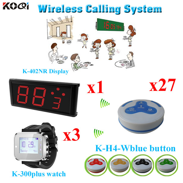 Table Buzzer Bell System Wireless Panic Button For Customer Help( 1 display+ 3 watch+27 call bell)(China (Mainland))