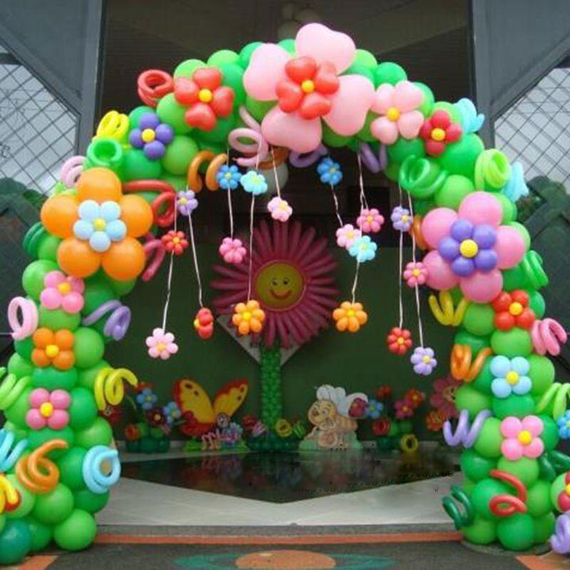 Popular balloon arch decorations buy cheap balloon arch for Baby birthday decoration photos