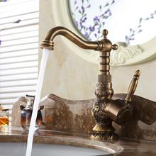 Nuovo arrivel deck mounted singola maniglia bagno lavello miscelatore rubinetto/gru/rubinetto ottone anticato calda e acqua fredda AL-9966F(China (Mainland))