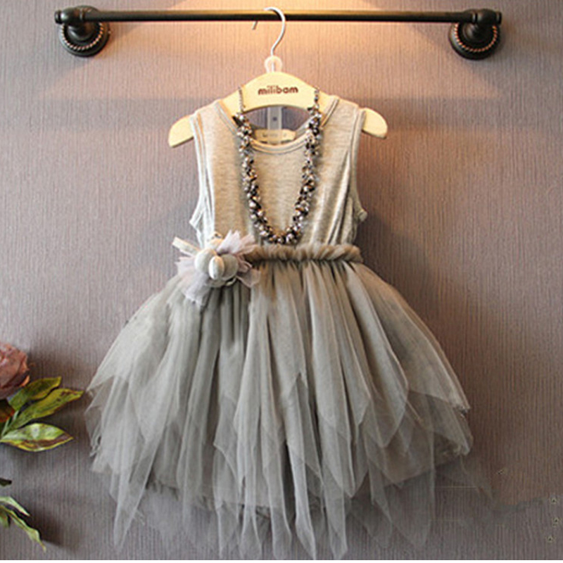 2016 summer girl dress baby girl chinese style with appliques grey dresses kids clothes summer dress(China (Mainland))