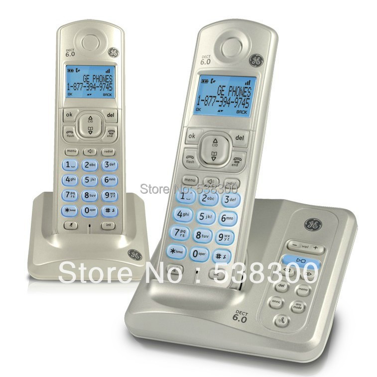 Free Shipping GE28522 DECT 6.0 Wireless Telephone Set Dual Handsets Cordless Phone Answering System Stand-alone Home Phone(China (Mainland))