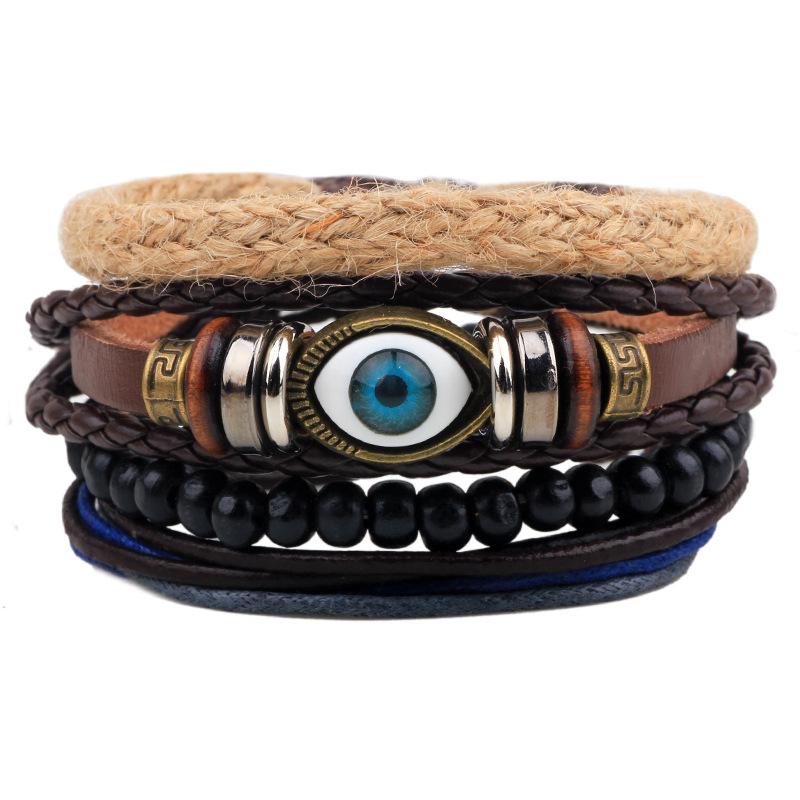 Punk Style Eye Wristband Female PU Leather Bracelet Men Multilayer Beads Bracelets Charm Bracelets Bangles Pulseira Masculina(China (Mainland))