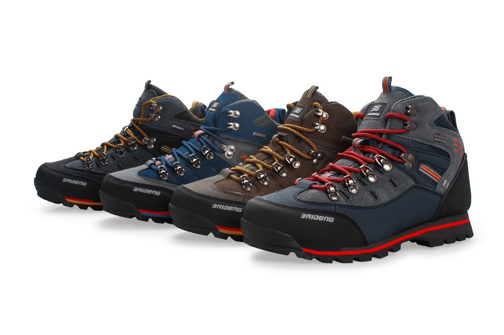 Men Hiking Shoes Waterproof Leather Shoes Climbing Fishing