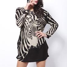 2014 New Casual,Summer Women long Sleeve O-neck big size ladies zebra Printed Long Tees Shirt Dress.Plus Size dresses(China (Mainland))