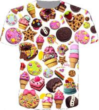 Новый летний стиль Harajuku с коротким рукавом женщины / мужчины 3d майка пончик мороженое печать мода футболка Большой размер прямая поставка