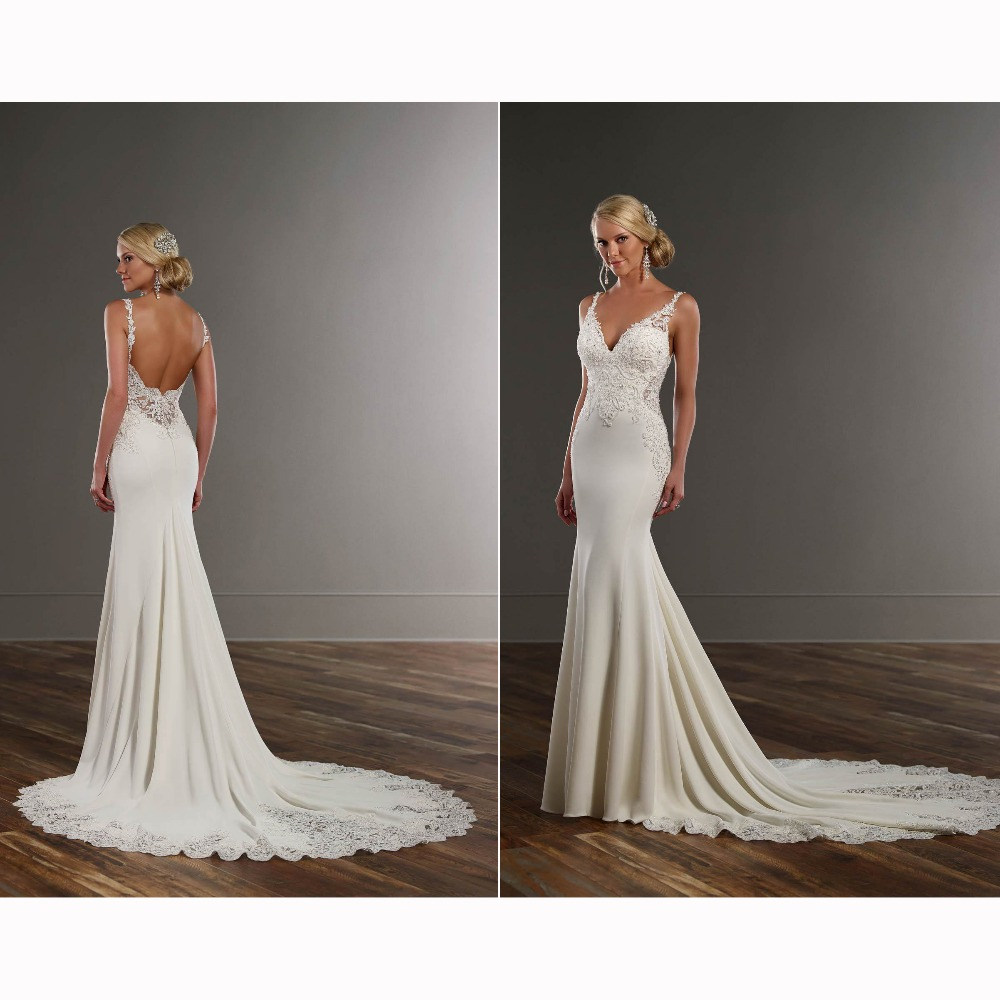 Sexy see through lace sweep train mermaid formal dress for Backless wedding dresses designer