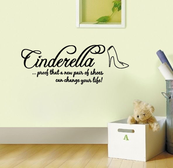 Cinderella Shoes Can Change Your Life wall art decals home decoration wall pictures for living room sticker on the wall(China (Mainland))