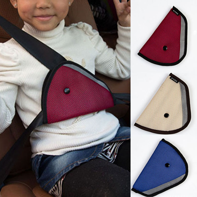 Comfortable Child Car Seat Belt Holder Triangle Car Accessories Red CAR-0175(China (Mainland))