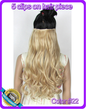 "24""(60cm) 120g body wave clip in hair extensions hairpiece hair pieces accessories color #22 Light Honey Blonde"