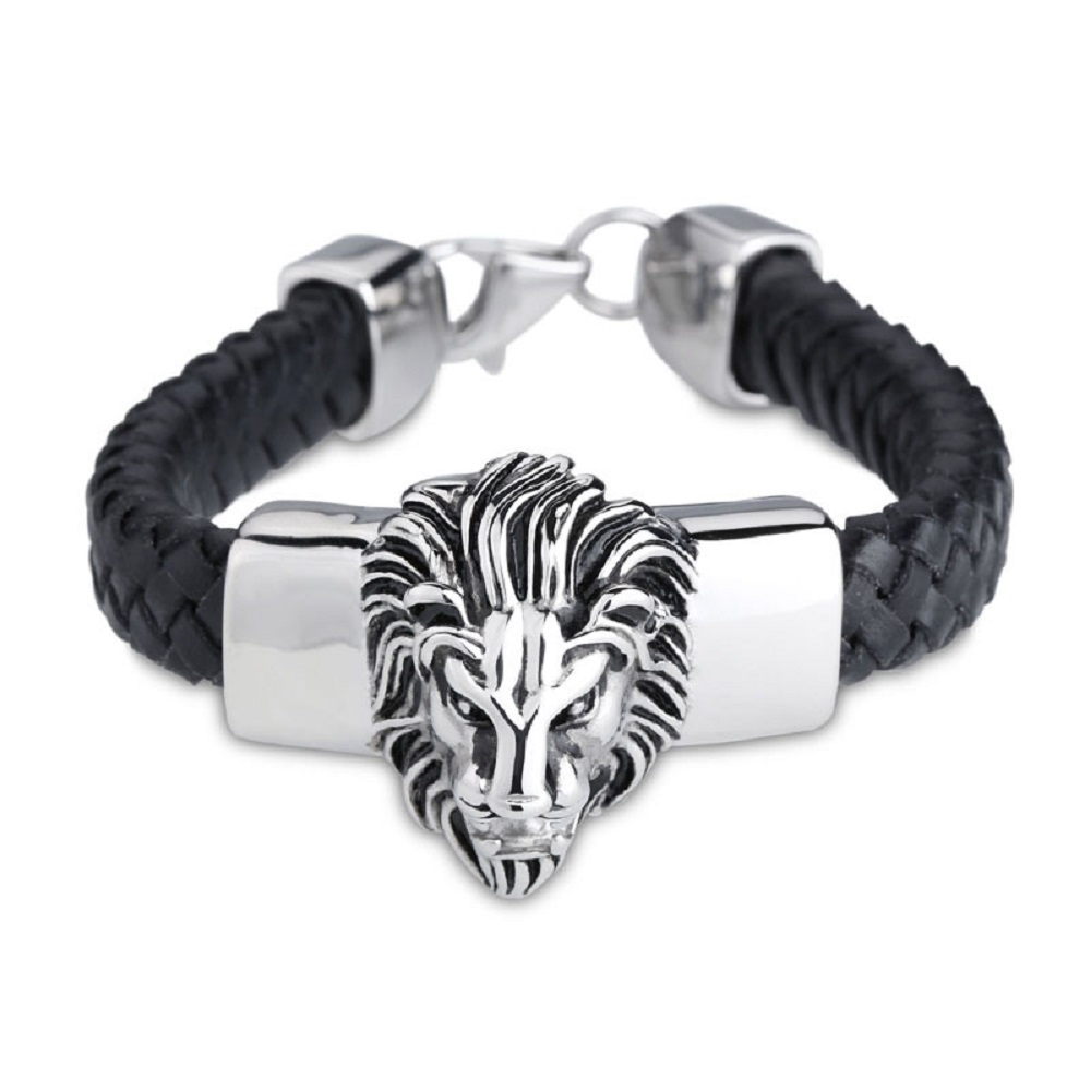 New Arrival Black Leather Bracelet&Bangle Wide Big Lion Head Stainless Steel Accosseries Men Cowboy Fashion Jewelry(China (Mainland))