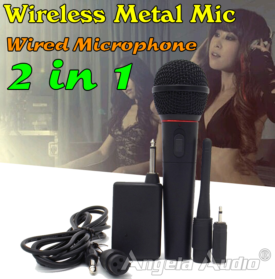 Free Shipping Wired Wireless FM Transmitter Receiver Microphone Handheld Mic System For PC Karaoke Conference Stage