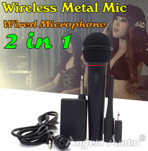 Free Shipping Wired Wireless FM Transmitter Receiver Microphone Handheld Mic System For PC Karaoke Conference Stage Tour Guide