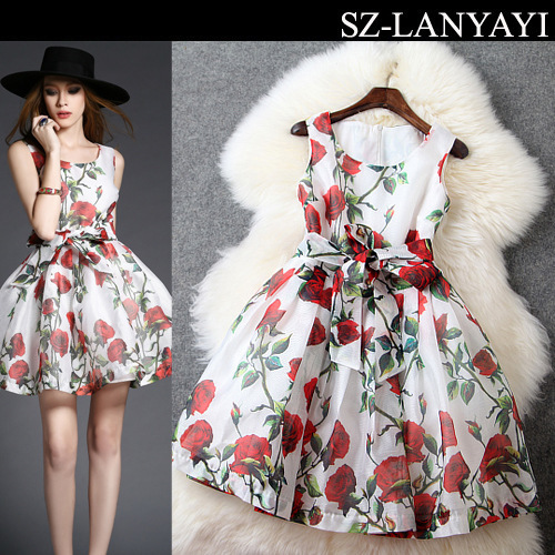 2015 Summer Women Dress European elegant style Sleeveless lady Rose print Dresses Vintage Vestido Estampado Vestidos Femininos(China (Mainland))