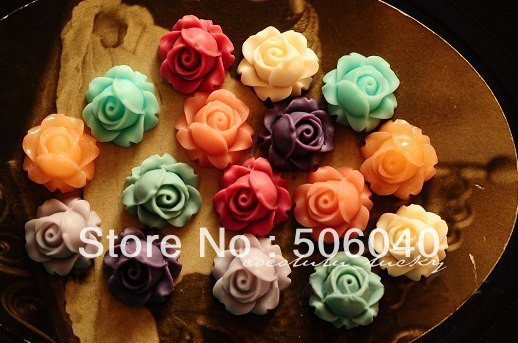 17mm resin cabochon flowers mini resin ROSE beads flat back jewelry Accessories decoration wholesale