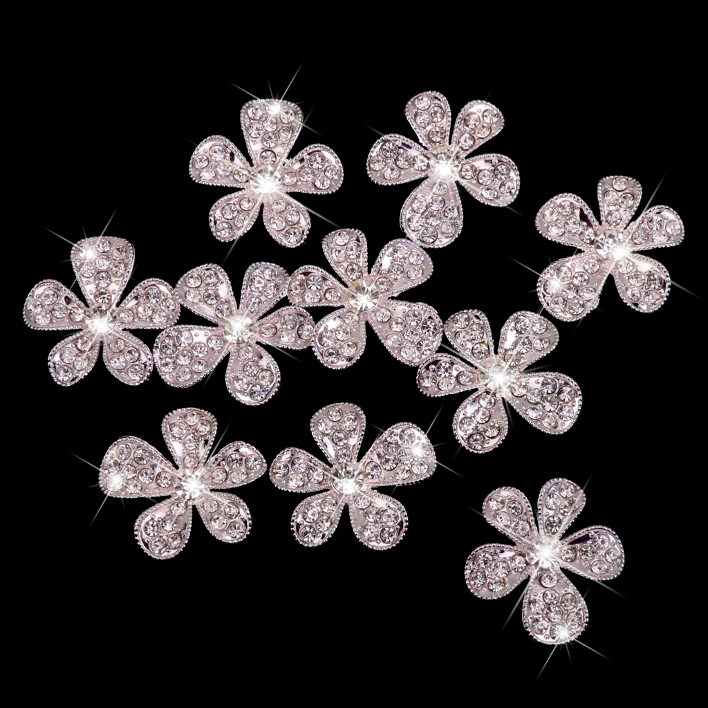 New Hot Sale Phenovo Crystal Flower Rhinestone Buttons DIY Craft Embellishment Silver Sewing Supplies Free Shipping(China (Mainland))