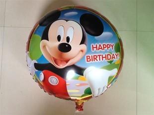 "Free Shipping 10pcs/lot Cartoon Mickey Mouse Aluminum Foil Balloons, Mylar Balloons, Happy Birthday Balloons 18"" Inch Wholesale"