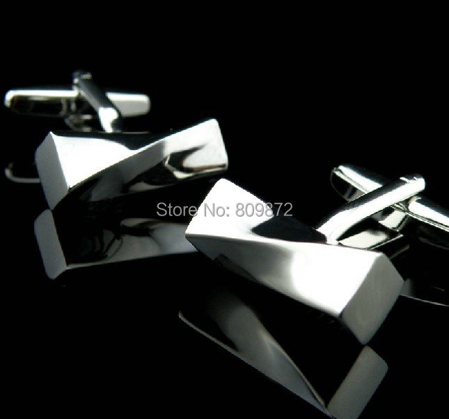 Promotion! Cufflinks Fashion wholesale&retail men design silver color copper material for men free shipping(China (Mainland))