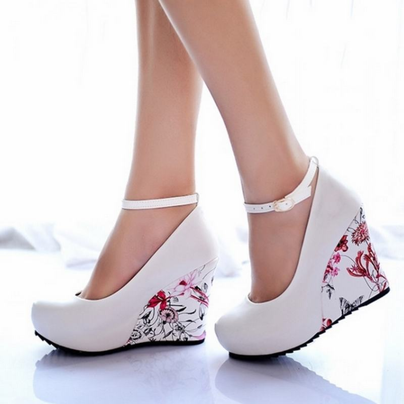 Fashion Ankle Strap 2015 High Wedges Platform Summer Pumps For Women Casual Dress Elegant Flower Print Wedges Platform Shoes(China (Mainland))