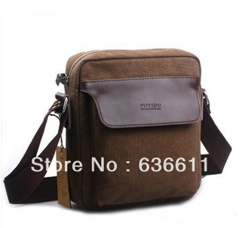 2013 men canvas bag high quality canvas+genuine leather male designer brand shoulder bag women and men messenger bag tote