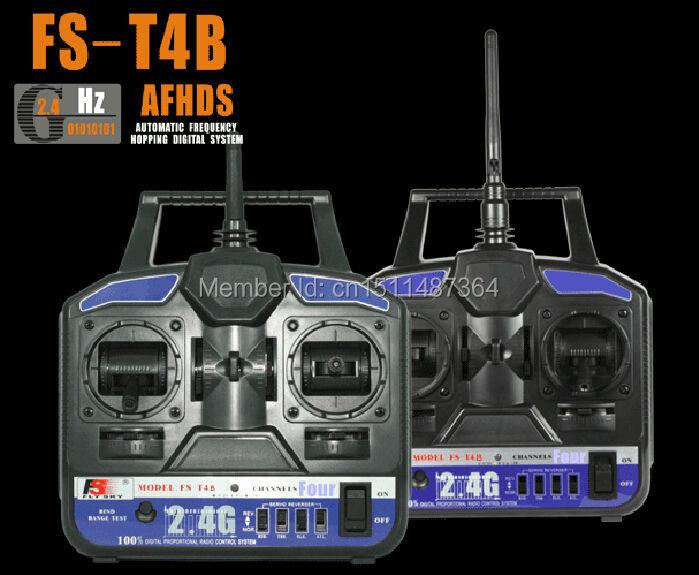 Free Shipping High Quality 2.4G FS-T4B 4CH Radio Model RC Transmitter & Receiver Heli/Airplane(China (Mainland))