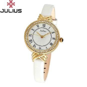 Lady Woman Wrist Watch Quartz Hours Best Fashion Dress Korea Bracelet Brand Leather Rhinestone Multicolored CZ Rome JA-413