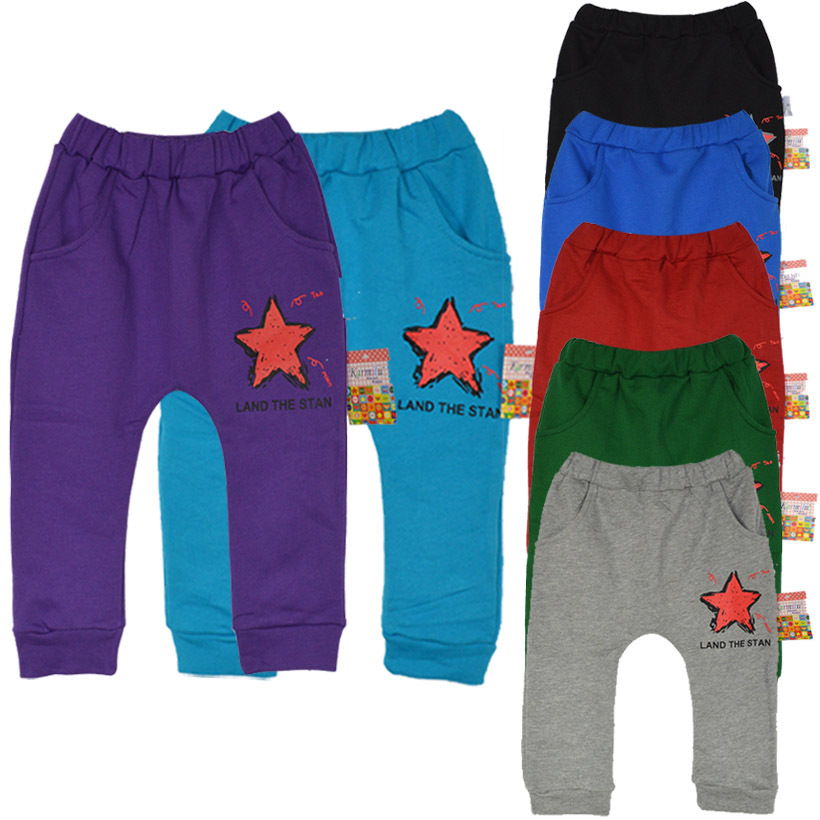 2015 New Arrival Autumn  Five Star Smile Terry Cotton boys Clothing Age 2-5  Clothes  Harem Pants Trousers Cartoon Free Shipping<br><br>Aliexpress