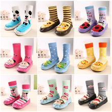 Hot Sale 100% cotton  Baby Boy Girl Character Socks Anti Slip Newborn Animal Cartoon Shoes Slippers Boots