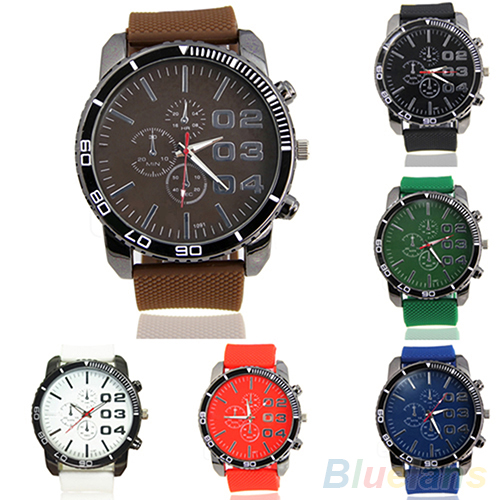 Mens Stainless Steel Dial Silicone Rubber Band Sport Analog Quartz Wrist Watch <br><br>Aliexpress