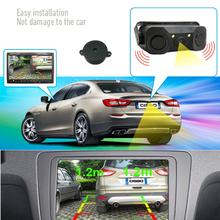 upgrade 2 in 1 Sound Alarm CCD HD Car Reverse Backup LED Rear View Camera Parking Radar System, Rearview Camera + 2 Sensors(China (Mainland))