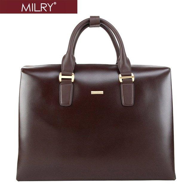 Free Shipping custom logo MILRY 100% Genuine Nappa Leather men Briefcase messenger shoulder bag laptop bag COFFE P0084-2