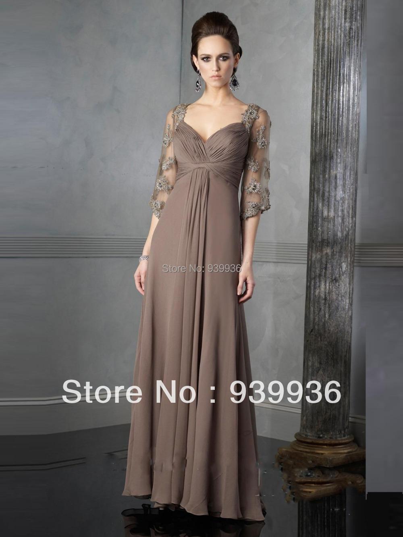 V neck three quarter sleeve appliques beads chiffon floor for Tk maxx dresses for weddings
