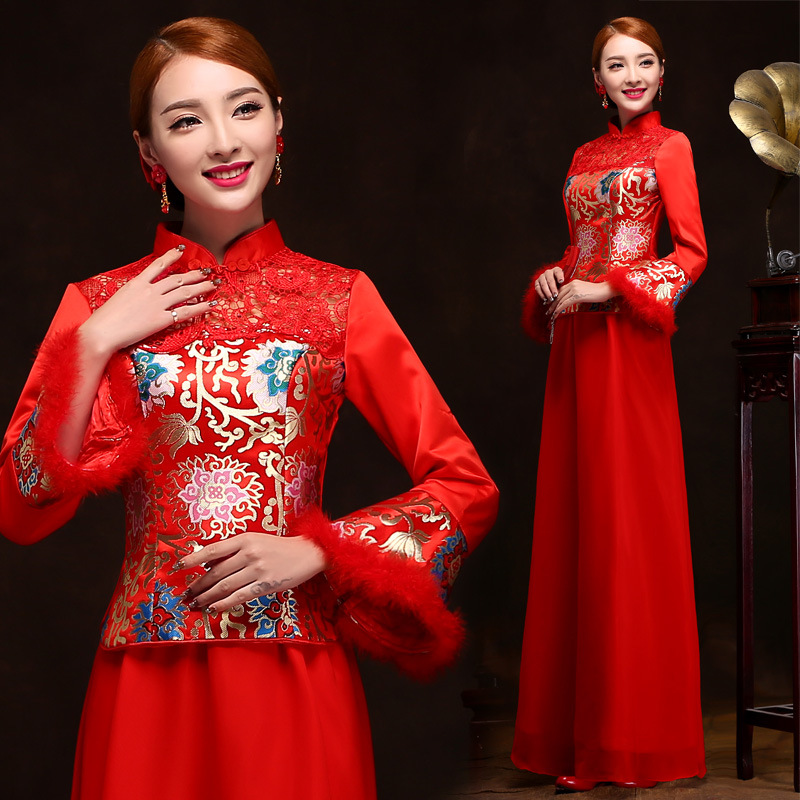 Здесь можно купить  China Traditional Dress Silk Wedding Qipao 2015 Red Long Sleeve Cheongsam Cotton Embroidery Bride Chinese Style Dress wholesale China Traditional Dress Silk Wedding Qipao 2015 Red Long Sleeve Cheongsam Cotton Embroidery Bride Chinese Style Dress wholesale Одежда и аксессуары