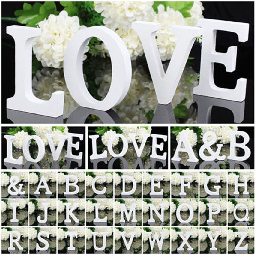 Home decor wedding decorations wooden letters white wood for Alphabet decoration