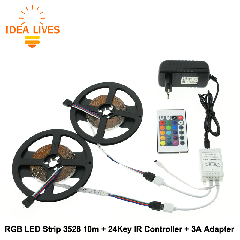 RGB LED Strip 3528 10m + IR 24Key Controller + DC12V 3A Adapter Flexible LED Light RGB Sets.(China (Mainland))