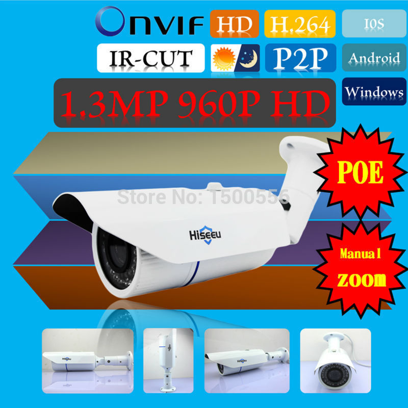 1280*960P 1.3MP Project Bullet IP Camera ONVIF 2.0 Waterproof Outdoor IR CUT Night Vision P2P Plug and Play POE Manual Zoom<br><br>Aliexpress