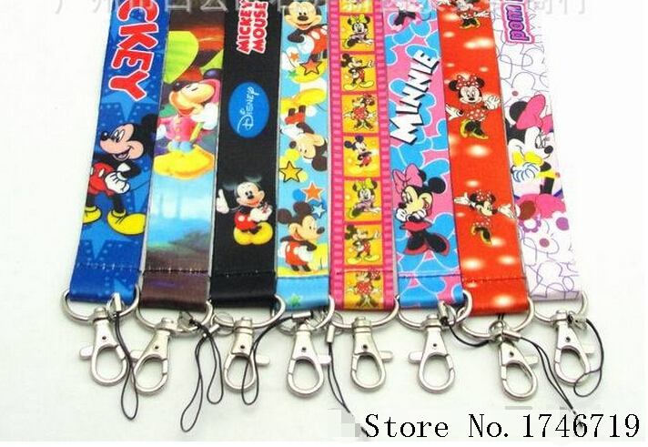 Mixed 10 Pcs Popular Cartoon Lanyards Neck Strap Keys Camera ID Card Lanyard Mobile Phone Neck Straps S-09(China (Mainland))