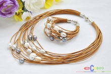 Buy wholesale 15row 13mm white black gray rice pearl coffee leather necklace & bracelet for $28.98 in AliExpress store