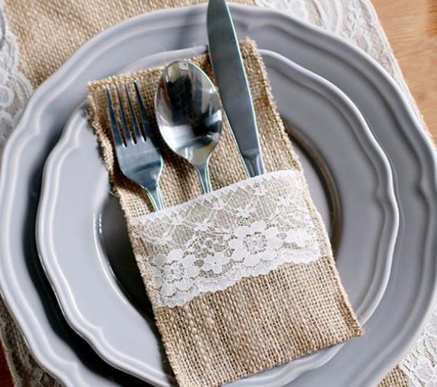 Sale 1pcs Vintage Shabby Chic Jute Burlap Lace Wedding Tableware Pouch Cutlery Bag Rustic Wedding Decor