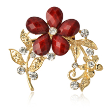New Fashion Euro Gold Alloy Resin Female Brooch Flower shape jewelry mixed Rhinestone Women Brooch For Wedding Free shipping