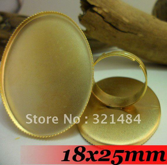 Gold Plated 200pcs 18x25mm Oval with teeth Cabochon Setting Jewelry DIY findings - Ring Base ~ Ring Blanks ~ Ring back<br><br>Aliexpress